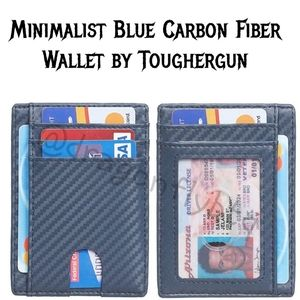 NEW! Men's Minimalist Blue Carbon Fiber Wallet